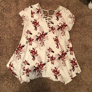 White And Pink top with cut out accents